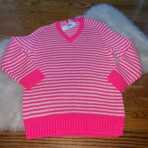 J. Crew hot pink striped knit v-neck sweater M NWT